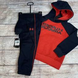 Under Armour 2T 3T 4T Black Red Hoodie Joggers Outfit Set NE