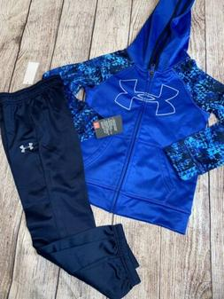 Under Armour 4T Blue Zip Hoodie Joggers Outfit Set NEW