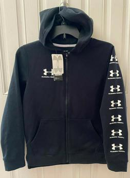 Under Armour Boy's Rival Full Zip Hoodie, YL, Black and Whit
