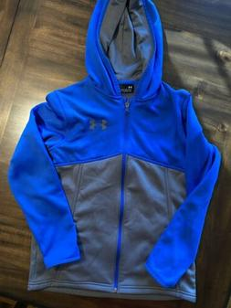 Under Armour Boys Blue  Full Zip Hooded Sweatshirt Size YLG