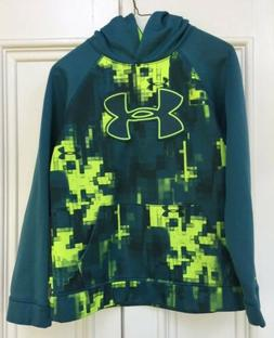 Under Armour Boys Youth Large Hoodie Loose Fit Teal Yellow G