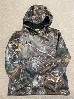 EUC UNDER ARMOUR BOYS STORM HOODIE YOUTH SMALL CAMO REAL TRE