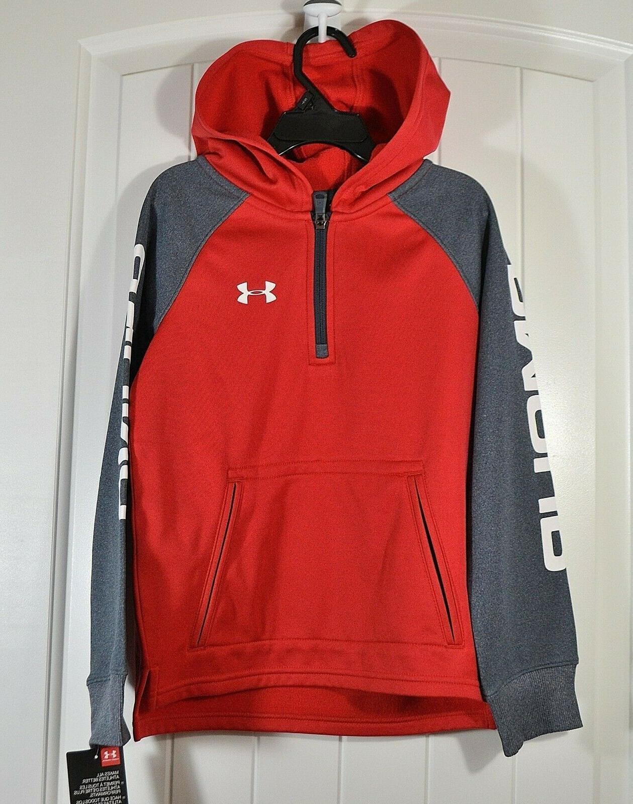 nwot boys kids youth red gray zip