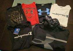 Lot Of 6 Youth Boys Nike, Champion and Under Armour Shirts a