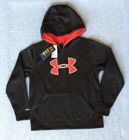 New Under Armour Boys  Red Loose Logo Sweatshirt Hoodie Yout