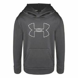 NWT Under Armour Boys Youth Big Logo Hoodie Size 6 Graphite
