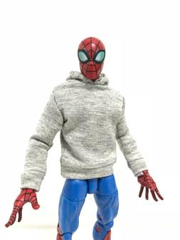 """OZ-SS-GRY: FIGLot 1/12 fabric grey hoodie for 6"""" ML Spiderma"""