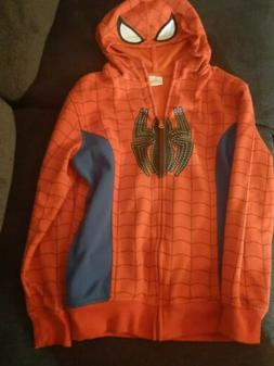 Marvel Spiderman Zip Up Hoodie With Mask Hood Size Boys 14-1