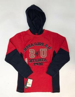 U.S. Polo Assn. Boys Red Size 8 Cotton Hoodie T-Shirt NEW