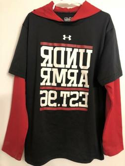 Under Armour Youth Boys Lightweight Black and Red Hoodie Siz