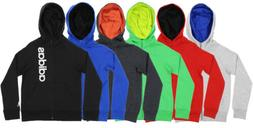 Adidas Youth Full Zip Solid Embroidered Hoodie, Color Option