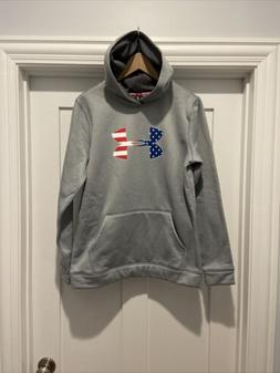 Youth Under Armour Loose Fit Storm Pullover Gray USA Freedom